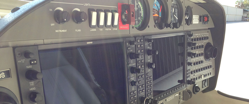 inside plane pilot view with avionics